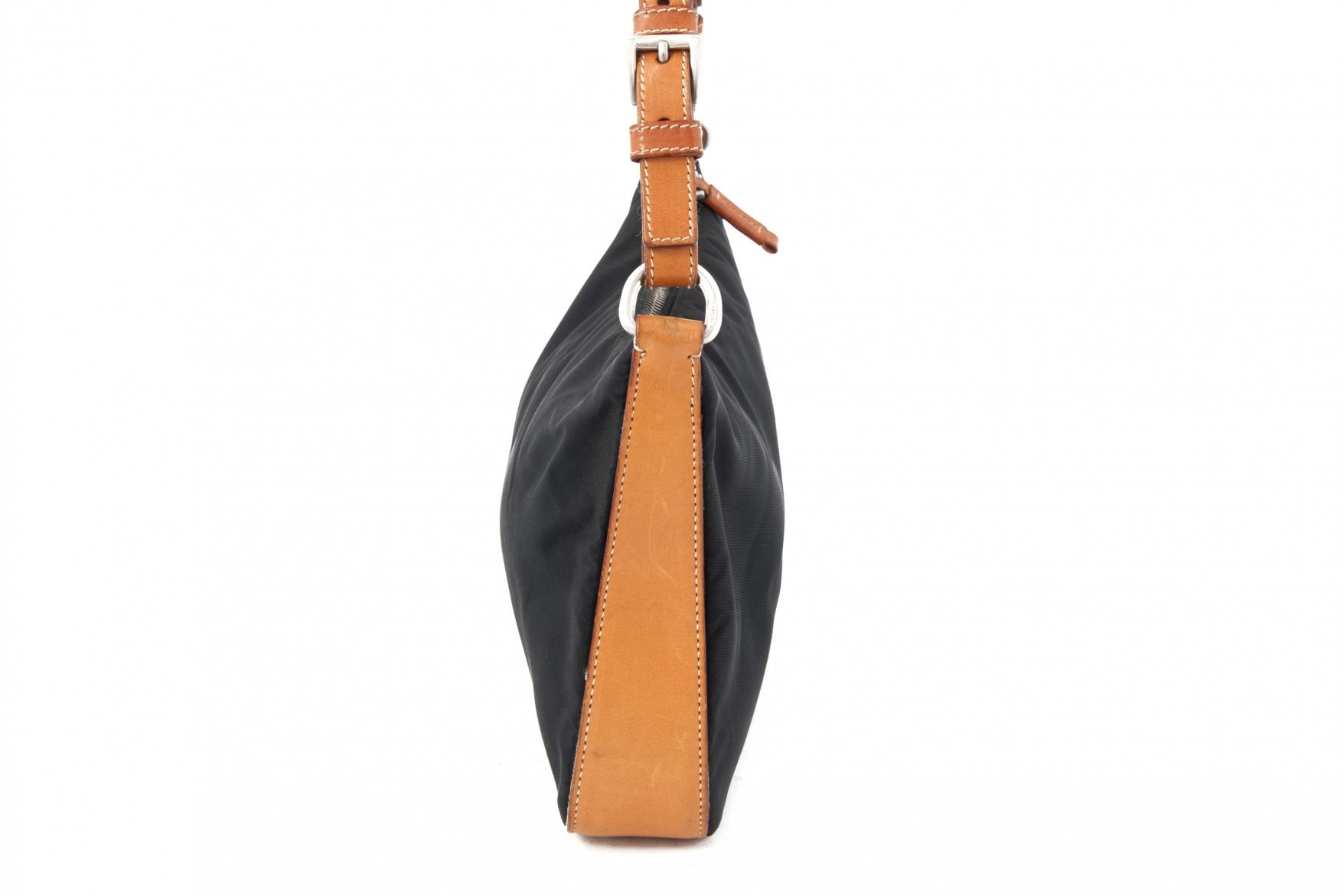 Prada blue fabric and brown leather handbag - Vintage Shop in Mykonos