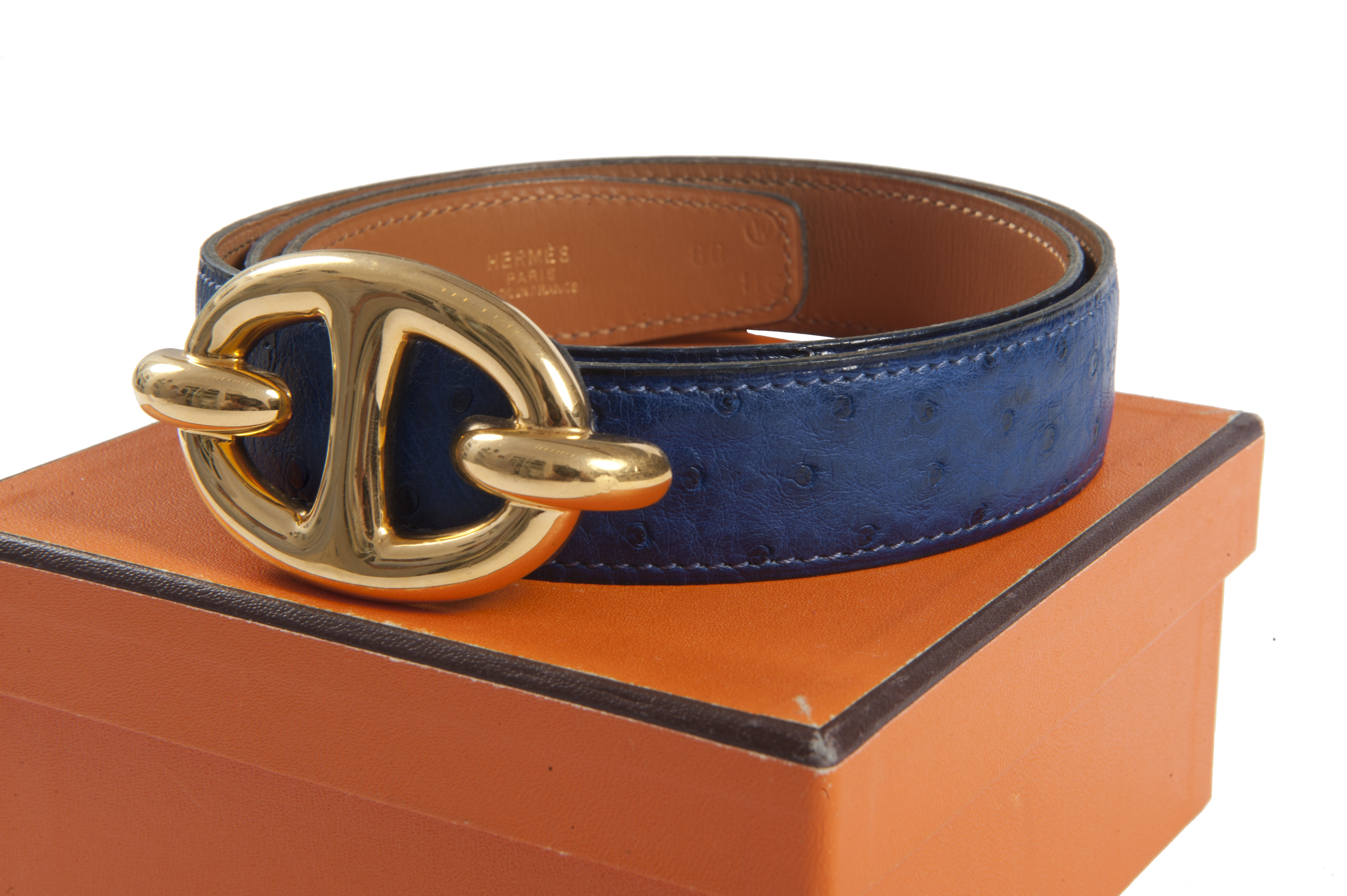 Hermes Ostrich Chaine D Ancre Belt Vintage Shop In