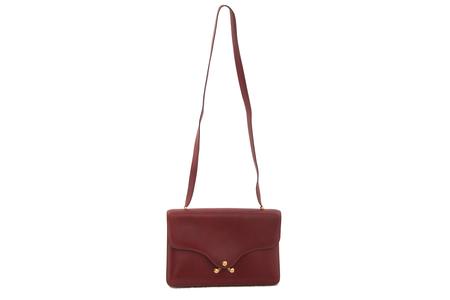 Hermes maroon leather shoulder bag