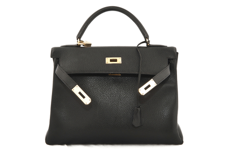Hermes Kelly 32 black Togo leather