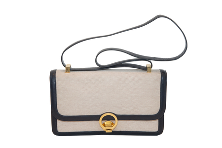 """Hermès """"Ring"""" beige fabric and navy blue leather"""