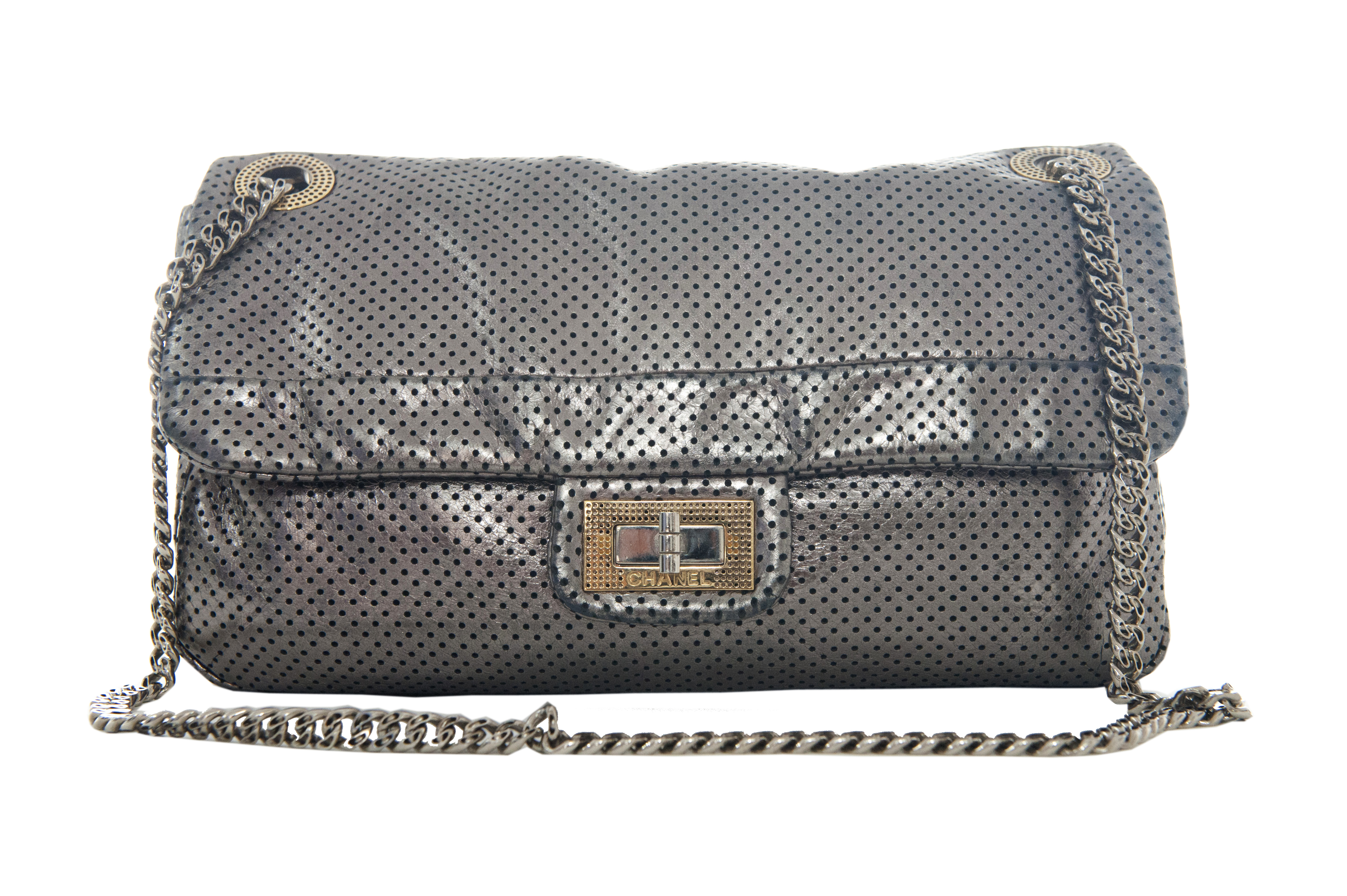 Chanel 2.55 Bag Pre Owned Perforated Metallic Silver Leather