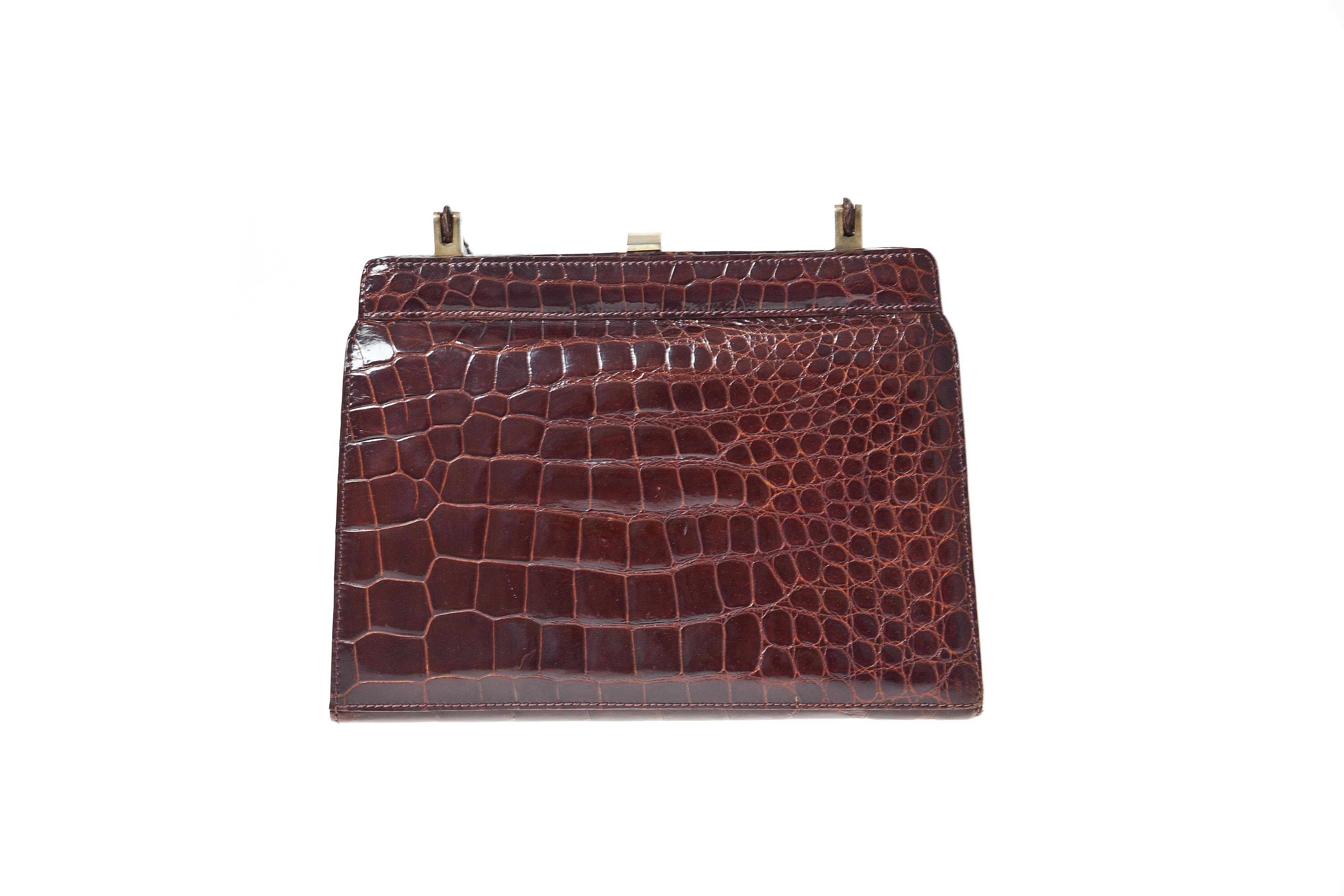 Russel and Bromley brown crocodile handbag
